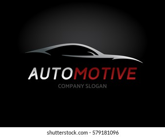 Automotive car logo design with concept sports vehicle icon silhouette on black background. Vector illustration.