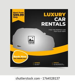 Automotive car rental banner for social media post template