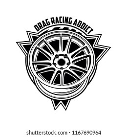 Automotive car wheel illustration for logo, sticker, t shirt clothes, icon, badge monochrome