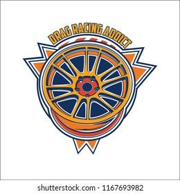 Automotive car wheel illustration for logo, sticker, t shirt clothes, icon, badge