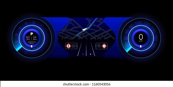 Automotive dashboard of the future. Hybrid car. Diagnostics and elimination of breakdowns. Blue. HUD style. Vector image.