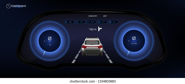 Automotive Dashboard, Futuristic Style. Car Instrument Panel. Tachometer, Data Display and Navigation (gps) Template Automotive Dashboard.  Vector illustration