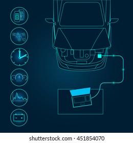 Automotive diagnostic repair icon. Vector illustration.