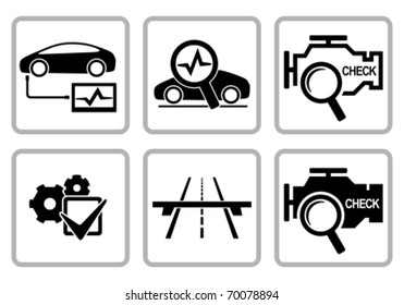 Automotive diagnostic repair icons set. All white areas are cut away from icons and black areas merged.