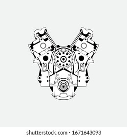 automotive engine vector logo in the white background