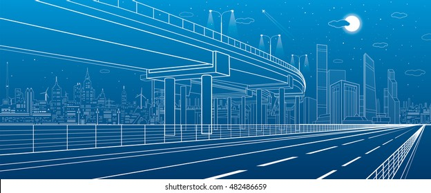 Automotive flyover, architectural and infrastructure illustration, transport overpass, highway, white lines urban scene, night city on background, dynamic composition, vector design art