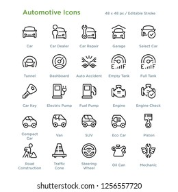 Automotive Icons - Outline styled icons, designed to 48 x 48 pixel grid. Editable stroke.