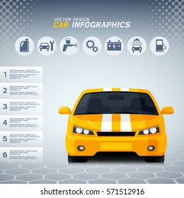 Automotive infographics design with generic yellow sports car and auto service icons
