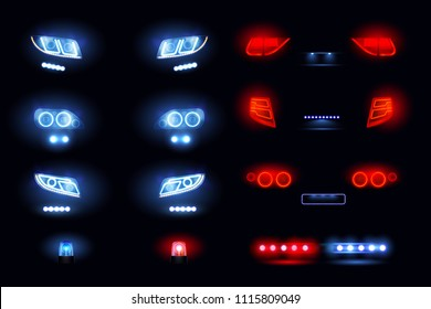 Automotive led lights realistic set with headlights bars front rear car views glowing in darkness vector illustration