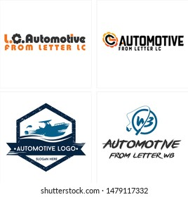 Automotive logo with letter LC gear black orange and speedboat fish blue suitable for service business company fishing