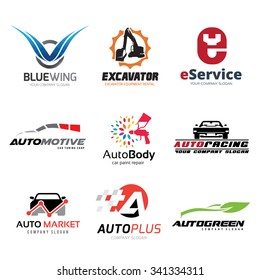 Automotive Logo set, Car Services Symbol, Auto Care, Marketing, Eco Technology, Blue wing, Vector Brand identity.