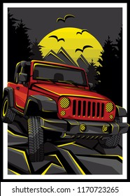 Automotive OFF-Road car on mountain forest roads illustration for logo, sticker, t shirt clothes, icon, badge, poster