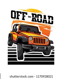 Automotive OFF-Road car with sunset illustration for logo, sticker, t shirt clothes, icon, badge, poster