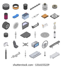 Automotive parts accessories icons set. Isometric set of automotive parts accessories vector icons for web design isolated on white background