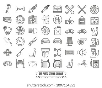 Automotive parts, service and repair filled line icon collection