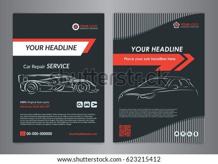 Automotive Repair Business Layout Templates Automobile Stock Vector