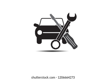 Automotive repair icon car service hood mechanic tools on white background.Vector illustration EPS 10.