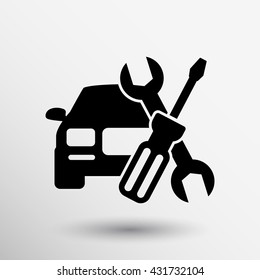 Automotive repair icon car service hood mechanic tools on white background.