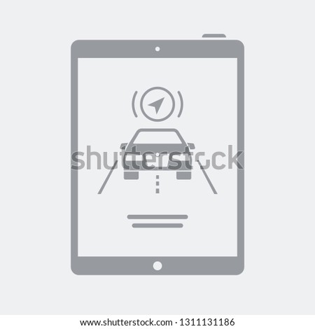 Automotive Road Navigator On Tablet Stock Vector (Royalty