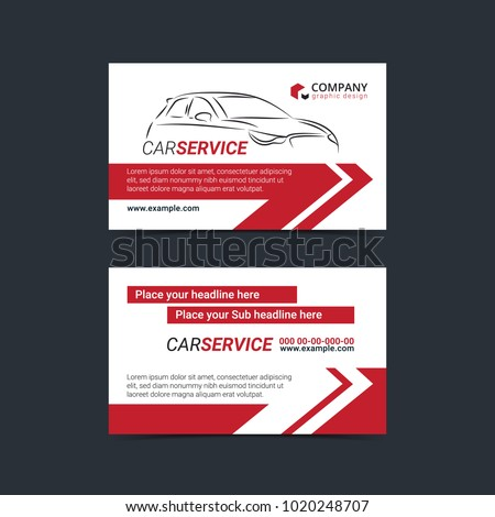Automotive Service Business Cards Layout Templates Stock Vector