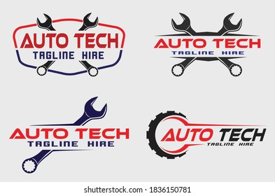 automotive service logo concept set collection