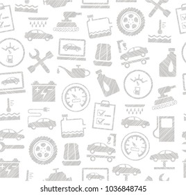 The automotive service. One-color, flat pattern. Hatching with a gray pencil on a white field. Imitation.