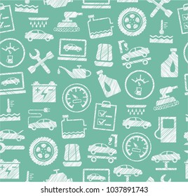 The automotive service. One-color, flat pattern. Hatching with a white pencil on a green field. Imitation.