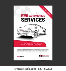 AUTOMOTIVE SERVICES layout template, cars for sale & rent brochure, mockup flyer. Vector illustration.