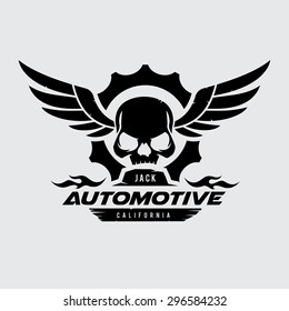 Automotive Skull Vector Logo Symbol