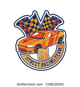 Automotive sport car illustration for logo, sticker, t shirt clothes, icon, badge, poster