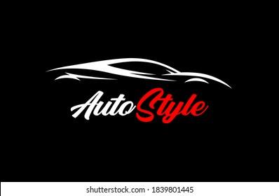 Automobil-Logo Design mit Auto-Konzept Supercar Silhouette. Vektorgrafik.
