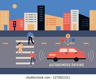 Automotive technology to keep pedestrians and safety distances crossing the road concept illustration. flat design vector graphic style.