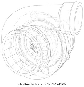Automotive turbocharger line sketch isolated on white background. Vehicle performance turbo. Car turbocharger sign. Vector rendering of 3d.