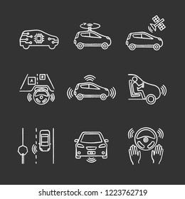 Autonomous car chalk icons set. Self-driving automobile, LIDAR, satellite control. Sensors detecting road signs, other vehicles, pedestrians. Isolated vector chalkboard illustrations