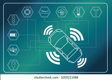 Autonomous car concept. Car devices connected to various sensors and the computer performs intelligent calculations, decisions and assistance to users. EPS 10 vector illustration