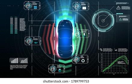 Autonomous car. Driverless car. Self driving vehicle. Future concepts smart auto. HUD, GUI, hologram Automatic braking system avoid car crash from car accident. Concept for driver assistance systems.