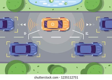 Autonomous car driving on road with sensing systems. Smart vehicle scans way observe distance and parking driverless flat style vector illustration. Future concept