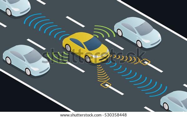 автономное вождение автомобиля на дороге и сенсорные системы, беспилотный автомобиль, самовольное транспортное средство