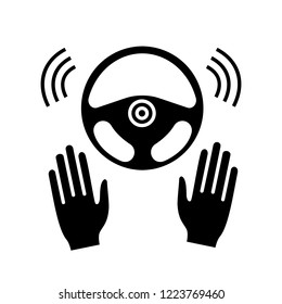 Autonomous car with full automation glyph icon. Driverless auto. Hands off automobile. Self driving auto. Car rudder and hands. Silhouette symbol. Negative space. Vector isolated illustration