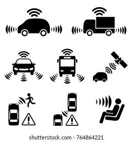 Autonomous car icon set.?Driver assistance system. Driverless vehicle.