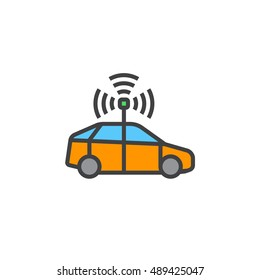 autonomous car line icon, filled outline vector sign, linear colorful pictogram isolated on white, logo illustration