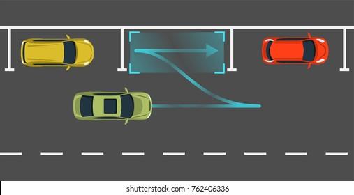 Autonomous car parking top view. Self driving vehicle with radar sensing system. Driverless automobile parking. Vector illustration.