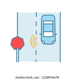 Autonomous car reading road sign color icon. Driverless car detecting traffic signs with video camera. Thin line illustration. Self driving automobile on road. Isolated vector illustration