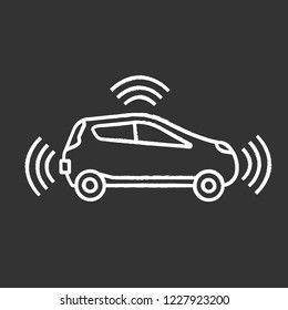 Autonomous car in side view chalk icon. Smart car with sensors signals. Intelligent auto. Self driving automobile. Driverless vehicle. Isolated vector chalkboard illustration