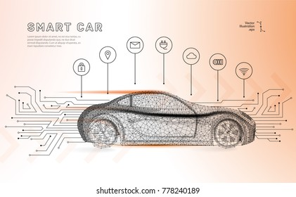 Autonomous car vehicle with circuit board.Abstract vector of a smart or intelligent car in the form of a starry sky or space, consisting of points, lines, in the form of planets,stars and the universe