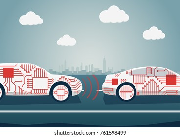 Autonomous driving concept as example for digitalisation of automotive industry. Vector illustration of connected cars communicating with each other