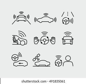 Autonomous Driving Icons