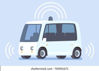 Autonomous electric self-driving bus. Vector illustration
