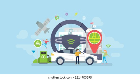 Autonomous Self Driving Eco Friendly Hybrid Electric Car Tiny People Character Concept Vector Illustration, Suitable For Wallpaper, Banner, Background, Card, Book Illustration, And Web Landing Page