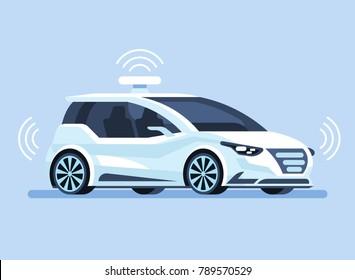 Autonomous self-driving Automobile sensors Smart Car Driverless vehicle Vector illustration